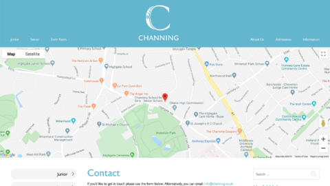 Contact page with a form and Google Maps